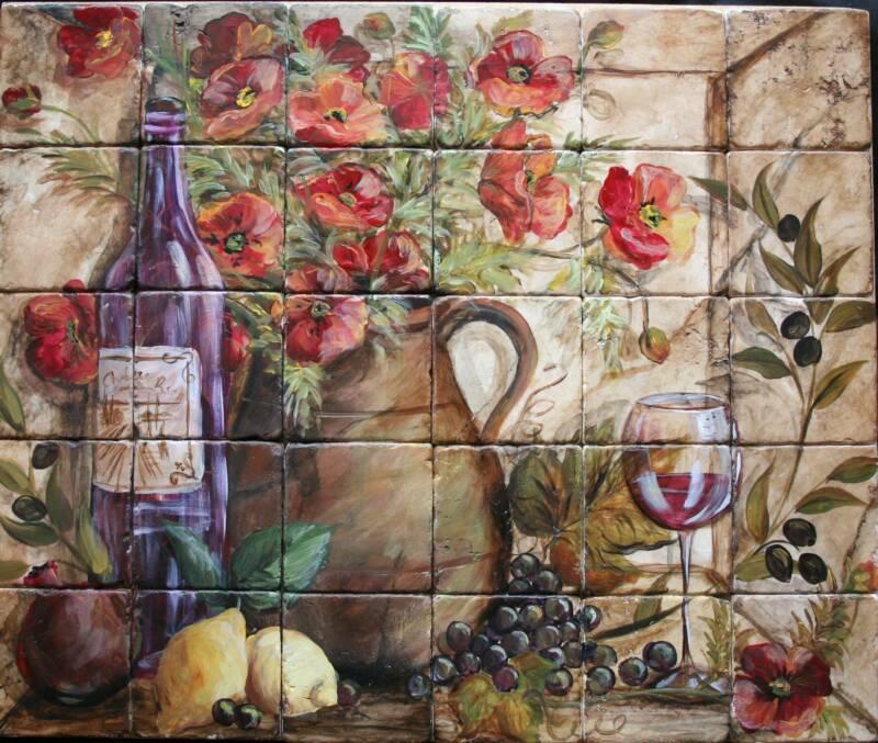 French Country Tile Mural Backsplash